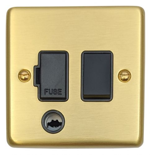 G&H CSB56B Standard Plate Satin Brushed Brass 1 Gang Fused Spur 13A Switched & Flex Outlet